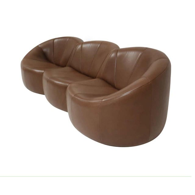 Pierre Paulin Pierre Paulin Leather Pumpkin Sofa For Sale - Image 4 of 7