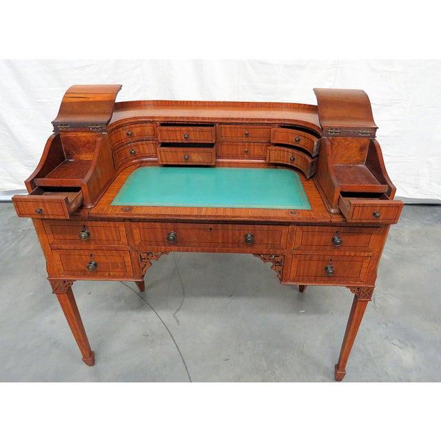 Edwardian Carlton House Satinwood Writing Desk For Sale In Philadelphia - Image 6 of 12