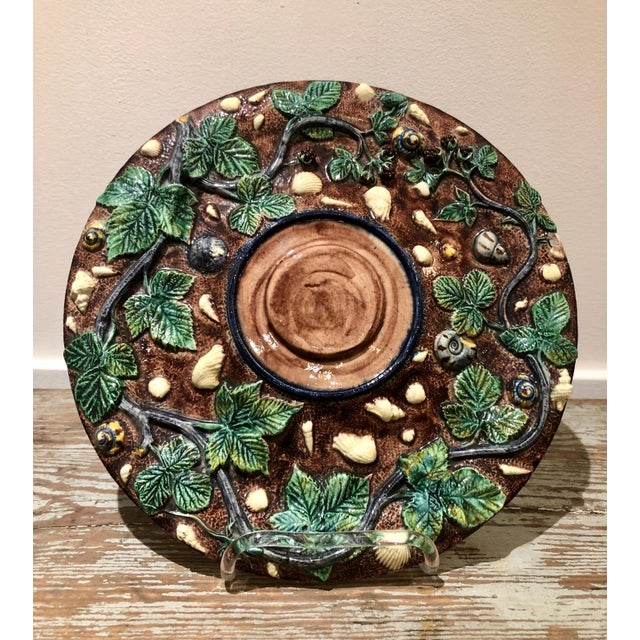 A late 19th Century French Palissy plate with vines and sea shells, Thomas Sergent, circa 1880