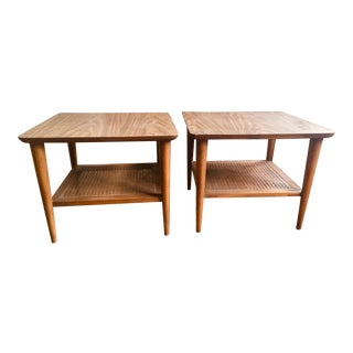 1960s Mid Century Modern Lane End Tables With Cane Shelves - a Pair For Sale