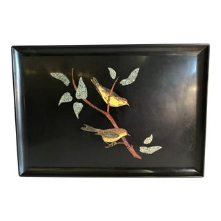 Vintage Couroc Inlaid Bird Motif Serving Tray For Sale