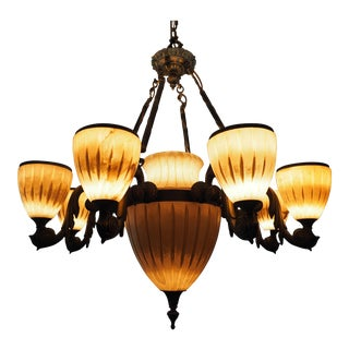 Natural Alabaster and Cast Brass Weathered Patina Chandelier For Sale