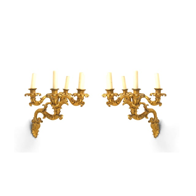 Pair of Lovely Charles X Gilt Bronze Wall Sconces For Sale - Image 4 of 4