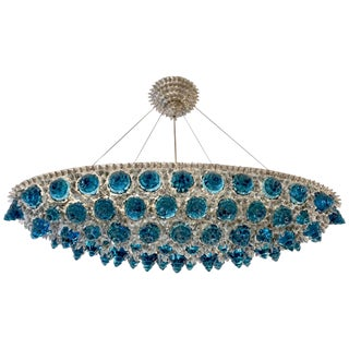 Contemporary Italian Turquoise Blue & Clear Glass Oval Silver Flush / Chandelier