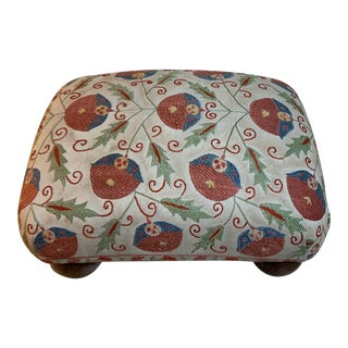 Vintage Suzani Upholstered Foot Stool For Sale