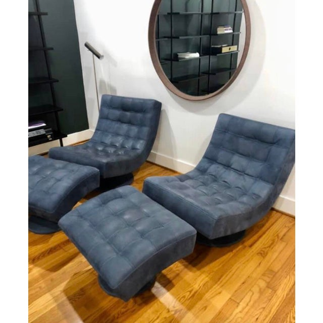 Post Modern Italian Leather Roche Bobois Swivel Lounge Chair and Ottoman For Sale - Image 9 of 12