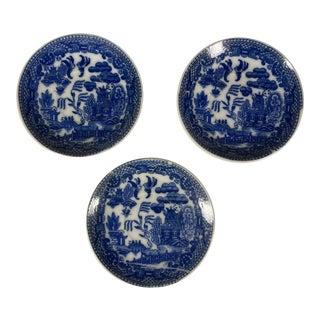Vintage Blue Willow Pattern Miniature Plates Saucers Japan - Set of 3 For Sale