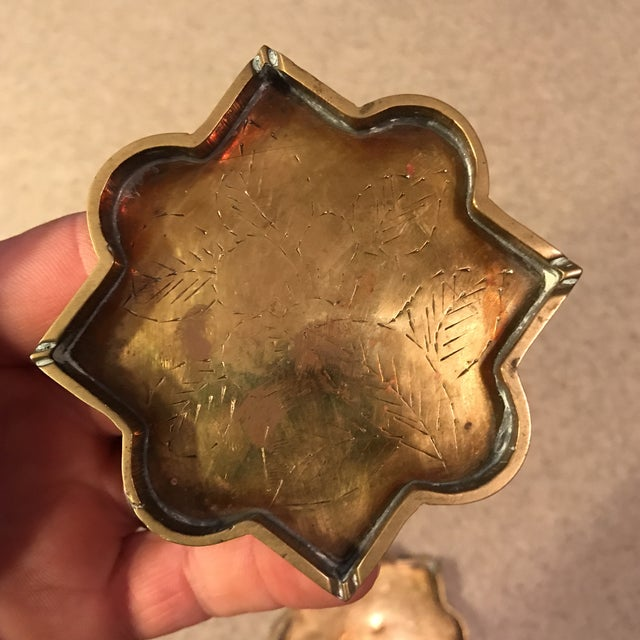 Brass Small Brass Decorative Etched Nesting Trays - Set of 4 For Sale - Image 7 of 11