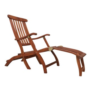 1900's S.S. New Amsterdam Teak Lounge Chair
