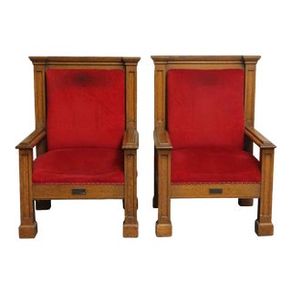Mission Style Oak Frame Red Upholstered Chairs - A Pair For Sale