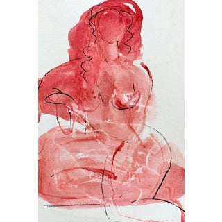 Woman in Red Seated 1, 9x6 For Sale