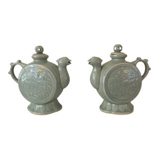 Vintage Asian Phoenix Celadon Tea Pots - A Pair