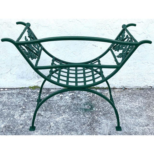 Green Wrought Iron Oak Leaf Motif Curule Benches, Provenance Celine Dion - a Pair For Sale - Image 8 of 9