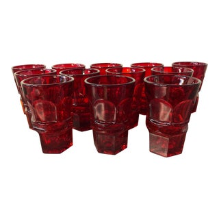 Fostoria Argus Ruby Red Tall Tumblers - Set of 12 For Sale