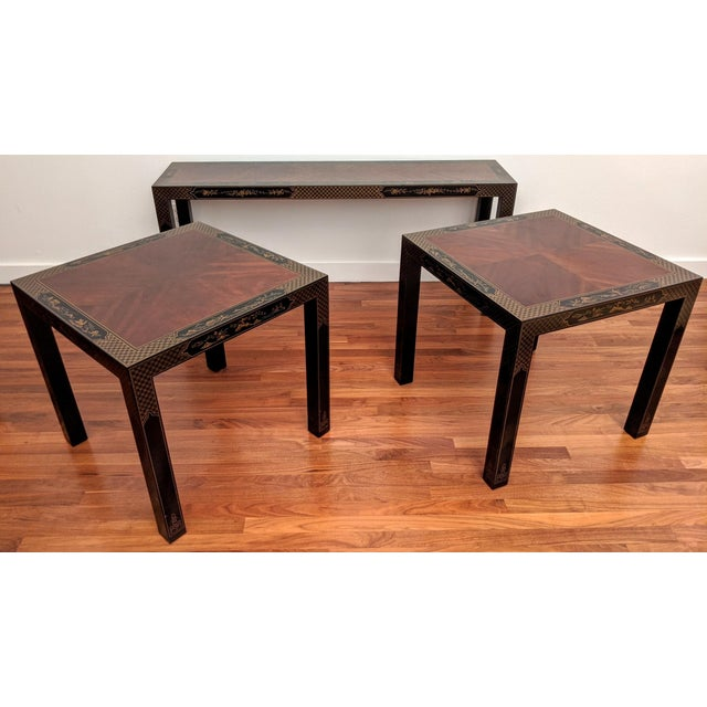 Mid-Century Modern 1980s Chinoiserie Console Table & Side Tables, Set of 3 (Drexel - Et Cetera Collection) For Sale - Image 3 of 13