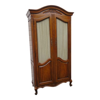 French Hand Carved Solid Cherry Armoire Wardrobe by White Furniture For Sale
