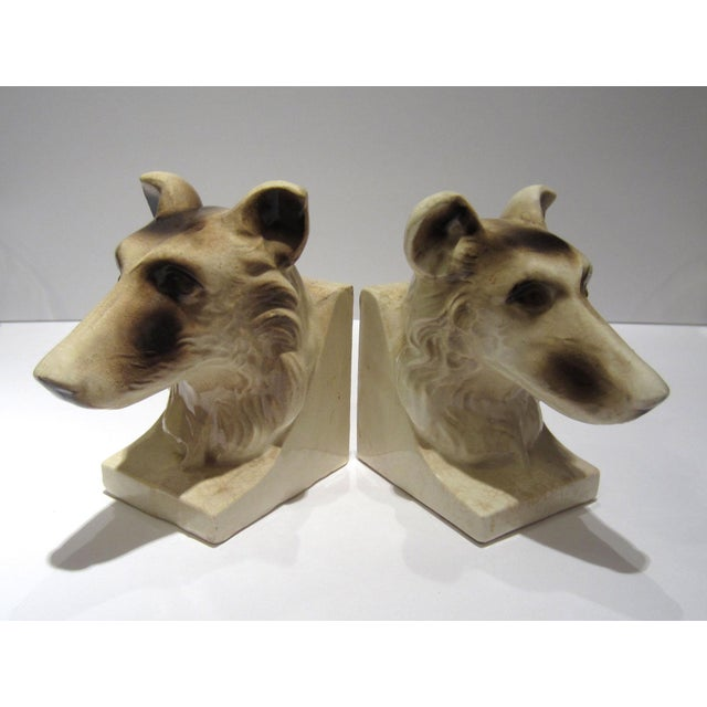Ceramic 1950s Vintage Ceramic Dog Bookends - A Pair For Sale - Image 7 of 13