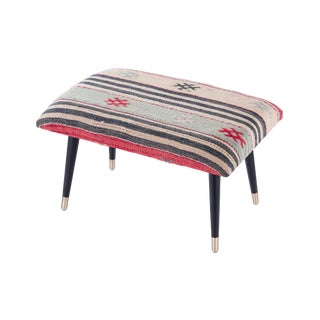 Pasargad Home Bosphorus Collection Blue & Red Kilim Cover Ottoman For Sale