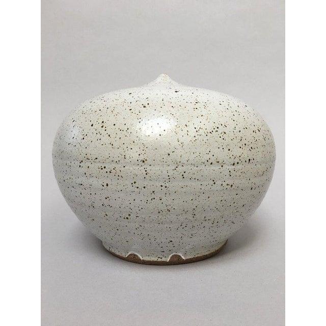 Boho Chic Closed Form Vase Studio Pottery Ceramic Vessel For Sale - Image 3 of 10