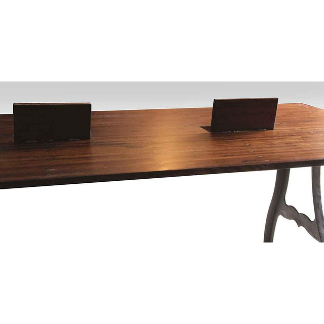 Industrial Conference Table With Three Outlet Boxes Chairish - Conference table outlet box