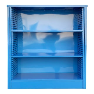 1960s Steel Tanker Style Bookcase in Bright Blue, Custom Refinished For Sale
