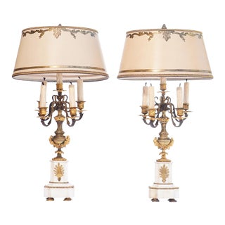 19th C. French Bronze and Marble Lamps For Sale