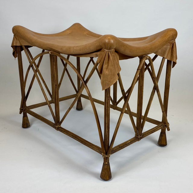 Late 20th Century Rattan Stool With Soft Leather Seat For Sale - Image 4 of 12
