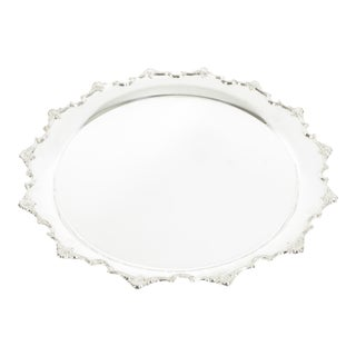 Large English Sheffield Plated Circular Barware Tableware Tray For Sale