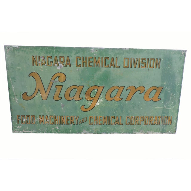 Vintage Hand Painted Tin Company Sign For Sale - Image 4 of 4
