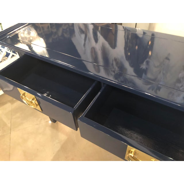 Vintage Century Furntiure Pagoda Navy Blue Lacquered Brass Hardware Console Table For Sale In West Palm - Image 6 of 11