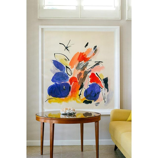 This dynamic watercolor explodes with color and energy. Bold, primary colors and shapes are tamed with pale pinks, soft...