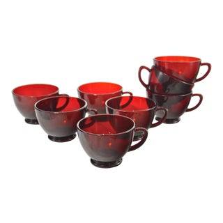 Scarlet Red Glass, 1960s - Set of 8