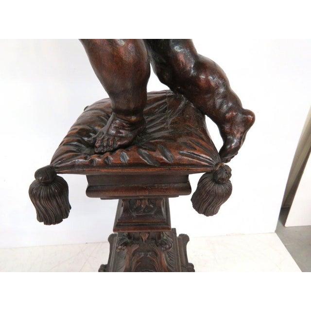 Antique Italian Carved Puttis on Pedestals - Pair - Image 5 of 9