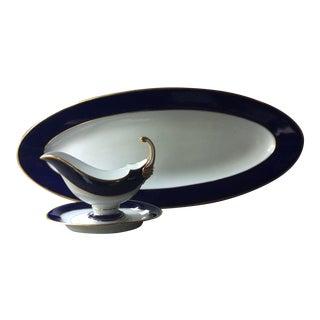 Antique European Porcelain Fish Platter and Sauce Boat - 3 Pieces For Sale