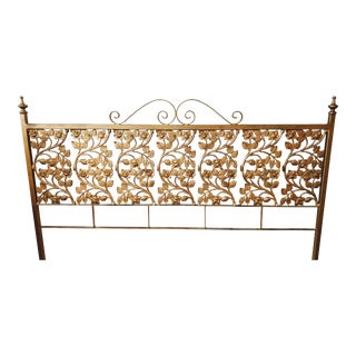 Vintage Iron Rose Queen Headboard Floral Flower Cast Iron For Sale