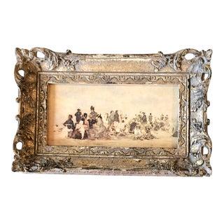 Vintage Impressionist Boudin Print French Carved Wood Frame For Sale