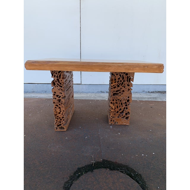 Gorgeous live edge slab top Pecky Cypress table with profile cut, asymmetrical legs. This piece was designed by Difilippo-...