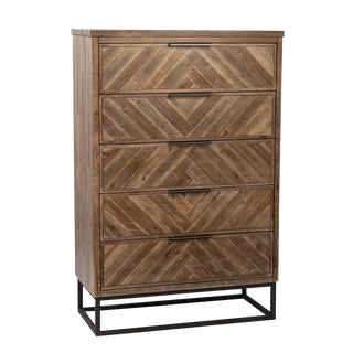 Herringbone Wood & Iron Tall Dresser For Sale