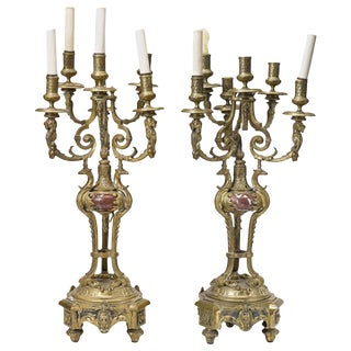 Pair of French Bronze and Rouge Marble Candelabra, 19th Century For Sale