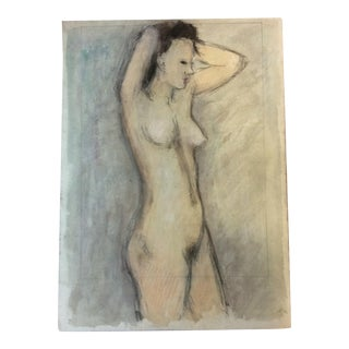 1940s Vintage Standing Nude Painting