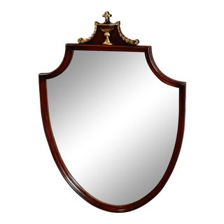Vintage Federal Style Mahogany Shield Shaped Wall Mirror For Sale