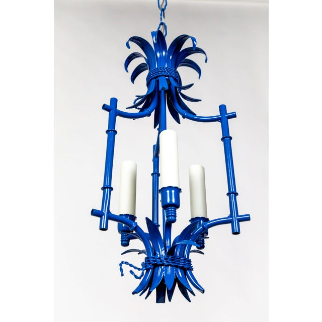 Mid 20th Century Palm Beach Style Blue Faux Bamboo Lanterns, Mid Century, Pair For Sale - Image 5 of 13