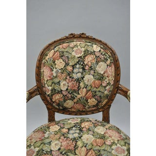 1930s Vintage French Country Louis XV Style Finely Carved Round Back Walnut Arm Chairs- A Pair Preview