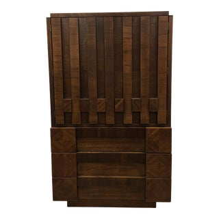 Brutalist Armoire by Lane For Sale