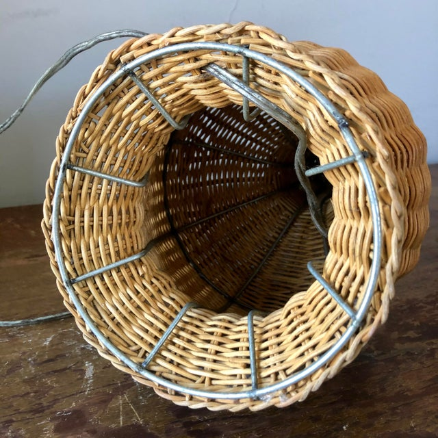 Vintage Natural Wicker Table Lamp For Sale In Buffalo - Image 6 of 7