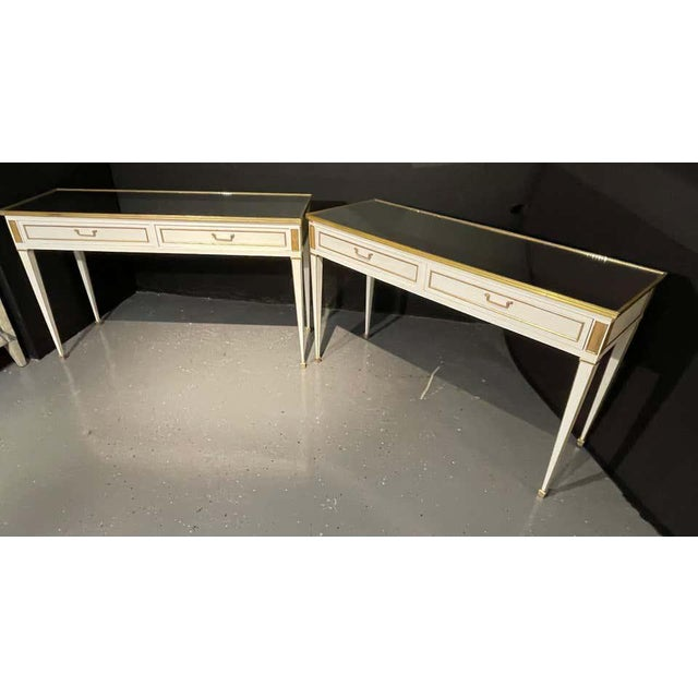 Metal Jansen Hollywood Regency Style Console / Sofa Tables, Mirrored & Painted - a Pair For Sale - Image 7 of 13