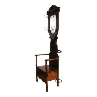 Antique Victorian Era Tiger Oak Hall Tree With Storage Bench and Hooks For Sale