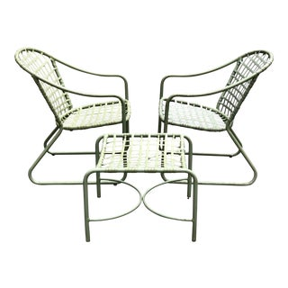 Mid-Century Modern Brown Jordan Patio Chairs & Ottoman - Set of 3 For Sale