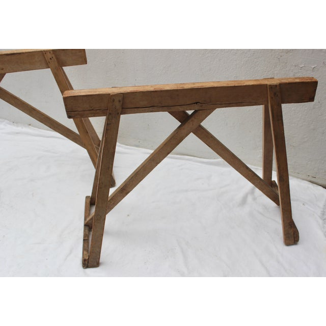 19th Century French Country Wood Saw Horse Table Bases - a Pair For Sale - Image 4 of 13