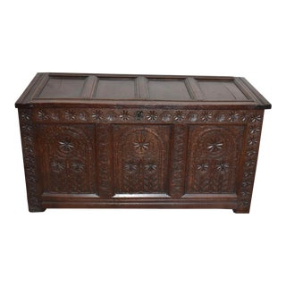 17th Century English Carved Coffer For Sale